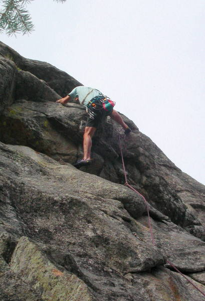 Steve Matous cranking the roof on the first pitch of Mystic Mile.