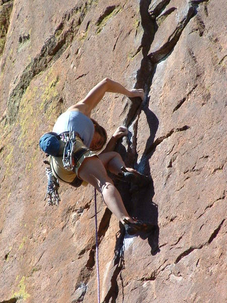 """Lynn below the """"power moves"""" to the anchor, one very hot day."""