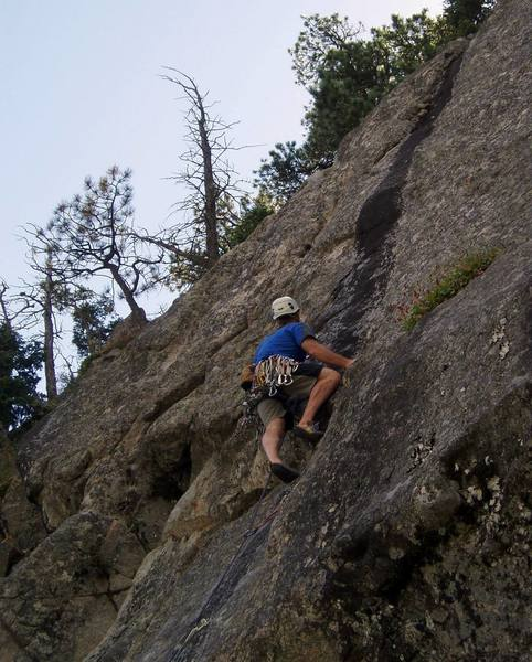 Moving onto the upper face at the 5th bolt. There are some big holds here to get you started.