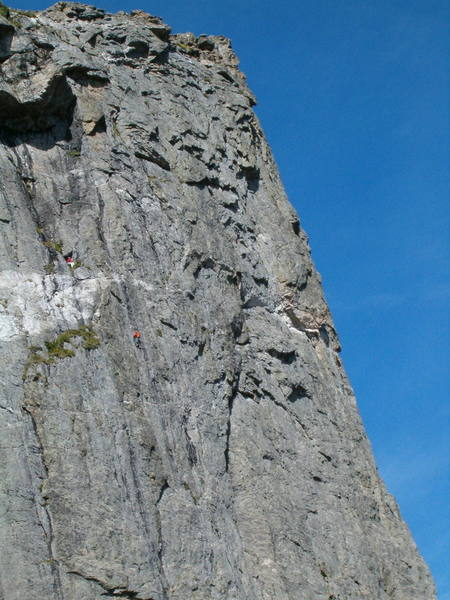 Climber, Craig Blankenship with Kevin Lorda on Belay<br> Photographer, Dan Nifong shooting from the midway ledge on the First Buttress.<br> Date was 8/6/04.