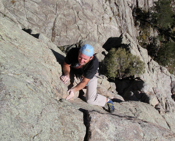 Bruce Hildenbrand at the crux on the third pitch.