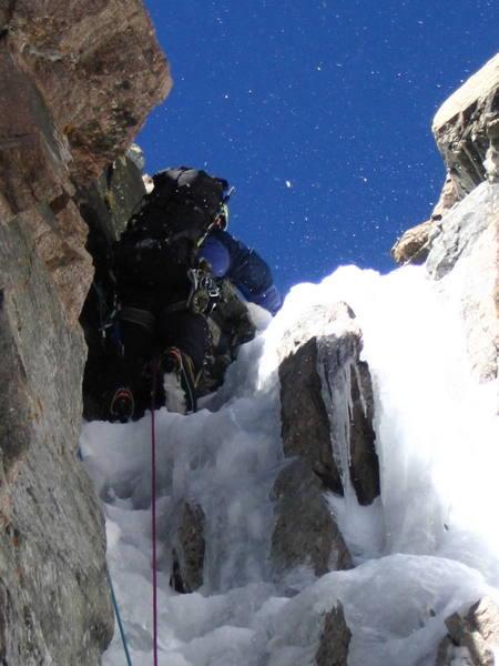 Tom leading the crux in Martha's Gully. Mt. Lady Washington 10-16-04.