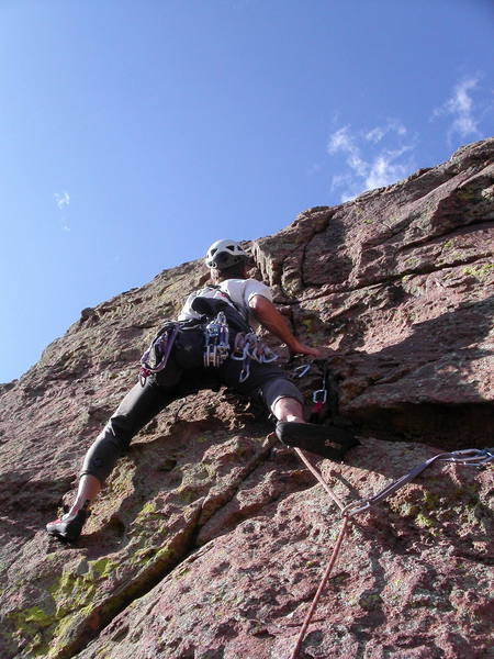 Peter Dillon starting the direct finish on pitch 4.  The protection is good and the moves are 5.7 at most.