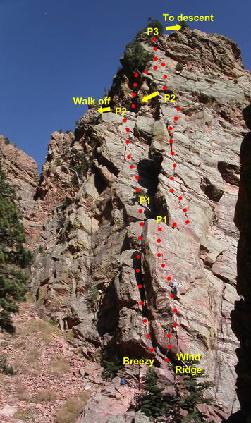 Breezy with the direct start.  Most climbers walk off after the second pitch, but the third pitch is also worth doing.