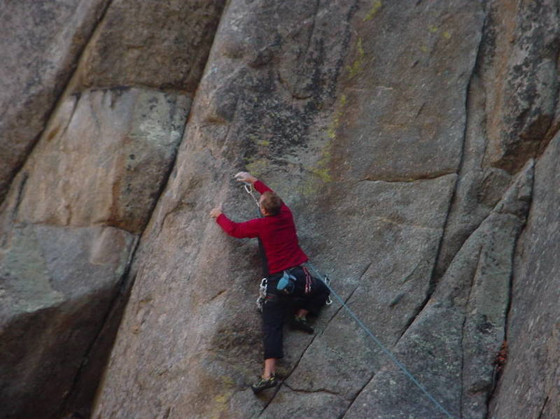 Brent Pohlmann just before the crux on Dyno Arete.