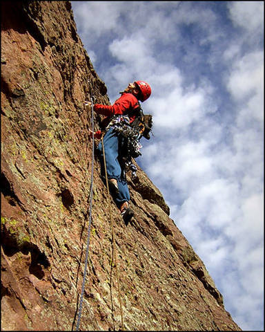 Edward Jenner checking out the crux moves on p3.  Ed!  Go left!  No, left!