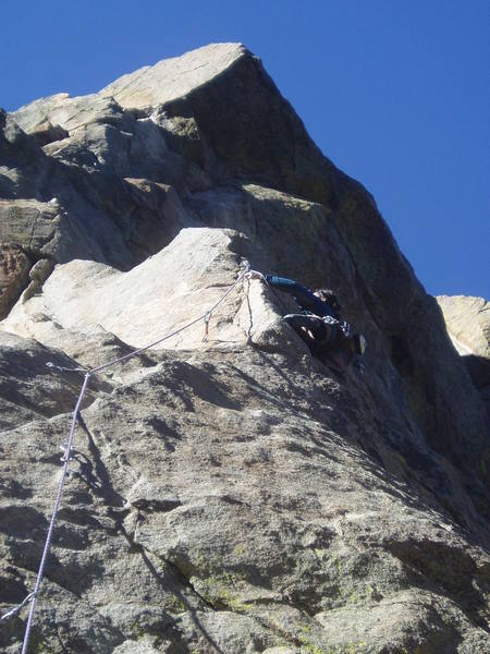 On the second crux. Moving right around the arete is pretty blind. There's a partial rest on the right before doing the arete moves.