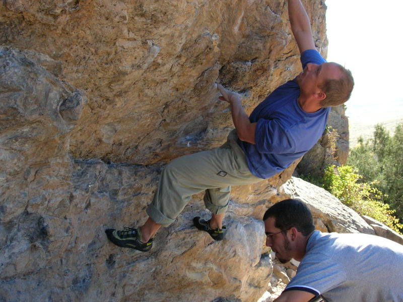 Brent Pohlmann on the low traverse with Aaron <br> Pence positioning pads....