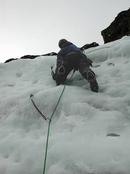 """Christa leads the third pitch to the base of the final """"crux"""" pitch, which she also led."""