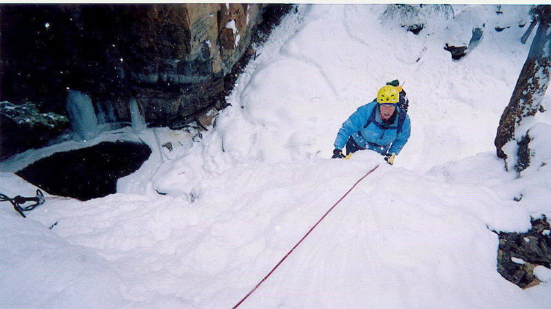 Jennifer Long topping out on Cascade Canyon Main Flows  1-3-05