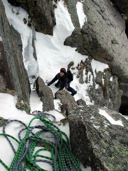 Christa nearing the top of the third pitch.