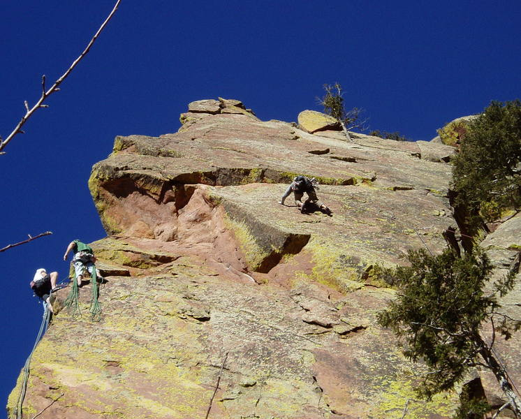 At the flake after the crux near the 3rd bolt. The climbers on the left are at the hanging belay on Moonlight Drive.