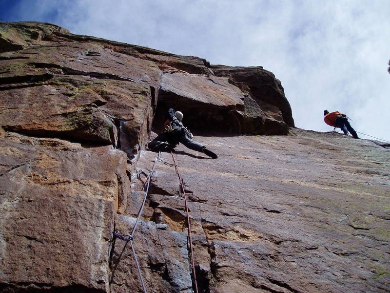 Approaching the ceiling. The climber on the right is belaying the second pitch of Rincon. Photo by Luke Clarke.