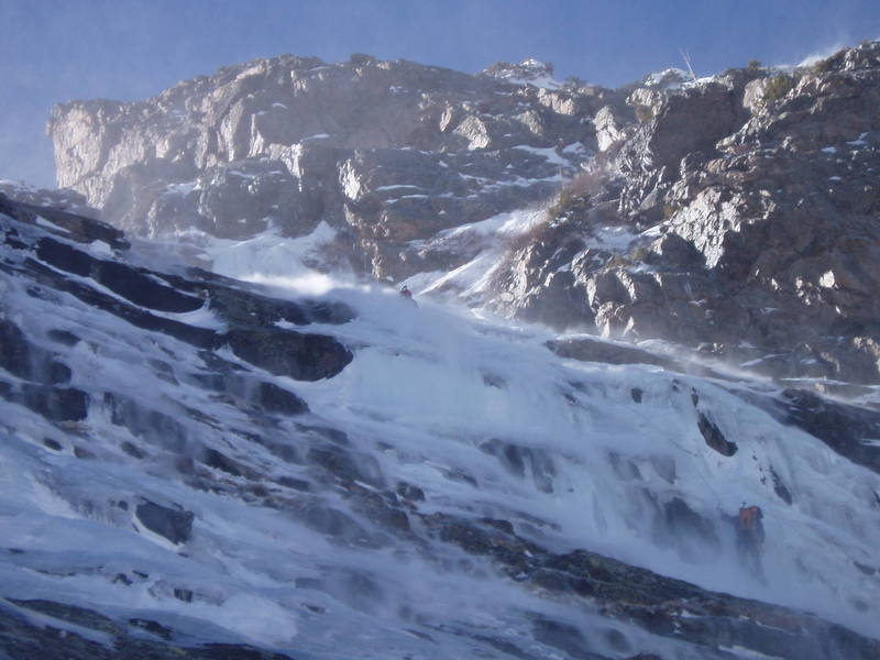 Two climbers and a little blowing snow on the third pitch of All Mixed Up.