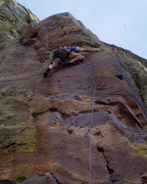Trying to move left at the 2nd crux at the 4th bolt by stepping down. This didn't work.