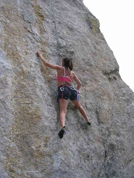 Holly Bruestle climbs near the crux.