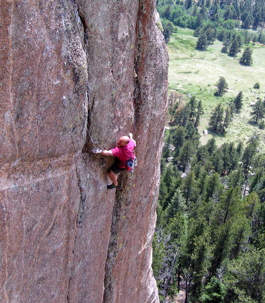 Paul working out the first crux moves where Blood Feud departs from No Bozos