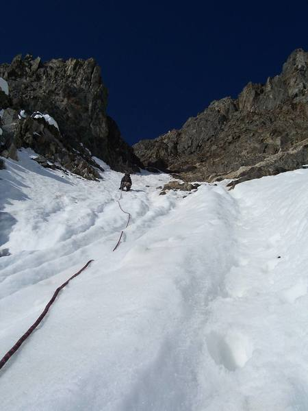 Heading up into the meat of the couloir.