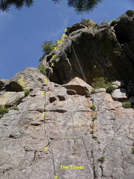 The Tower.  The crux is at the fourth bolt, with poor footholds and a long reach to insecure handholds.  This may be 5.9 if you're tall, but it's 10a or harder if you're short.<br> <br> A second crux is stepping right into the V-corner at the eighth bolt.
