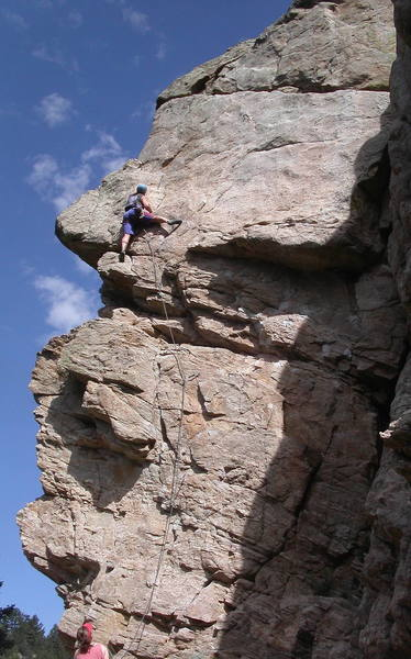 Jon Grayson just past the crux of the route.