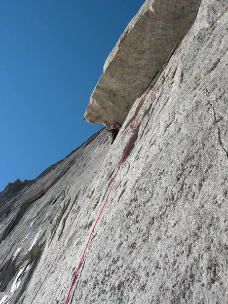 Justin on the 5.10 undercling section of the second pitch.