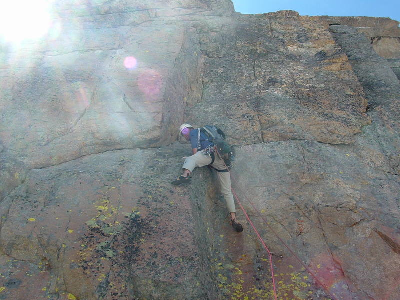 Jason making it look easy on the crux pitch.