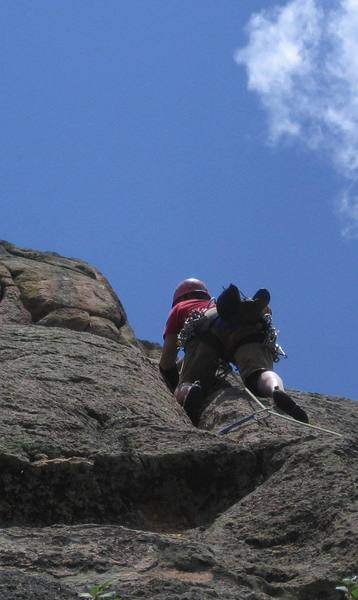 Jamming is easy on P4. Enjoy, there's plenty of 5.9 on the next pitch. Photo by Patrick Clarke.