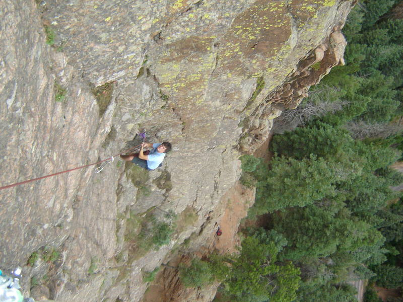 Ryan Busch at Pitch 1 belay. Start ledge can be seen below. (Photo: Cody Cook)