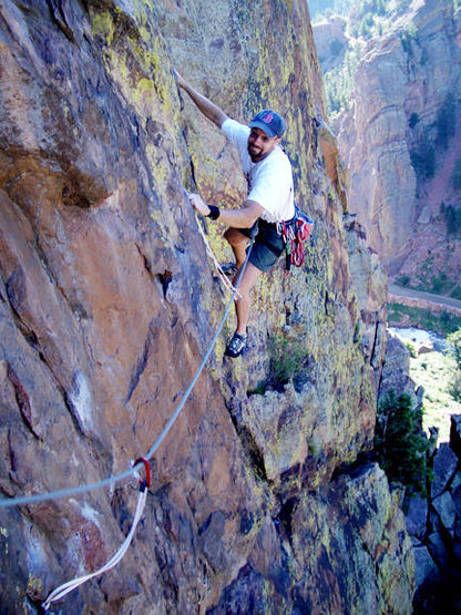 Jason Liebgott (me) finishing the traverse on P3 of Super Slab.