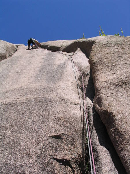 Past the 5.8+ crux move on Sticky Fingers.