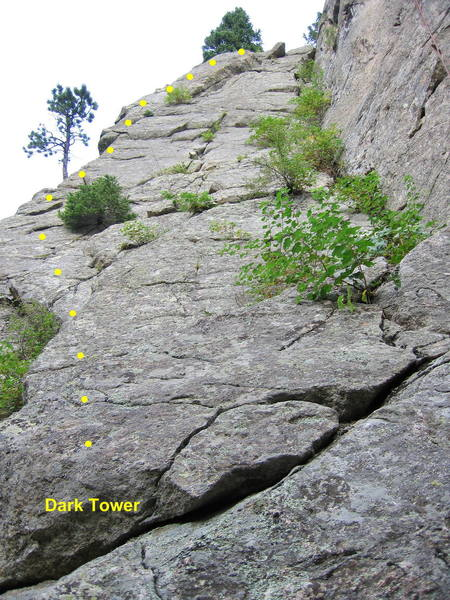 Dark Tower.  Angle left on the slab and follow the arete to the top.