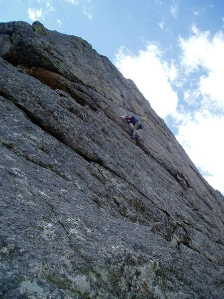 Chuck making an ultimately failed attempt at the first crux with a cracked wrist.
