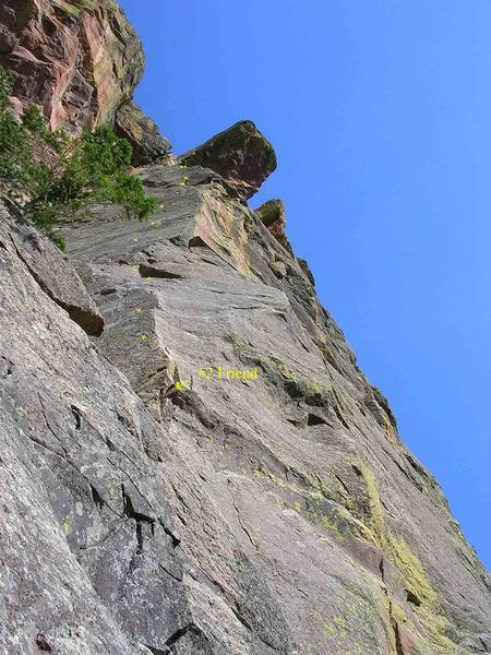 From the tree belay on P1, looking up at the aesthestic arete & salivating