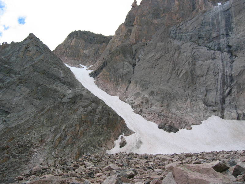 A look at Lamb's Slide on August 14 2005, and the traverse on to Broadway (just above the black section of rock).