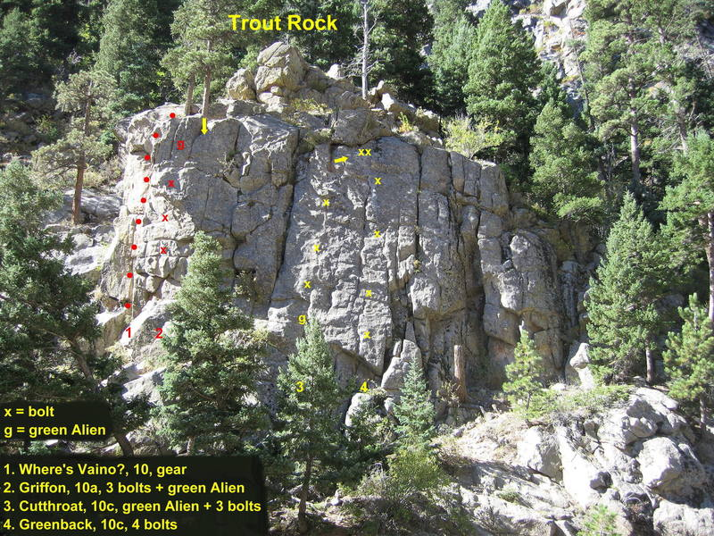 Routes on Trout Rock.  Greenback climbs the steep slab near the center of the rock, just right of Cutthroat.