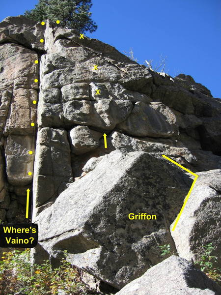 "Griffon climbs the steep face and overhang just right of ""Where's Vaino?""."
