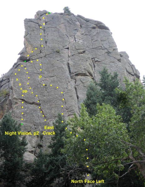 Routes on the left side of Cob's North Face.  Night Vision climbs the face and arete near the left edge. East Crack climbs a left-facing corner and thin crack. North Face Left climbs the face past an old pin.<br> <br> The routes meet at an alcove by the arete, and share a common final pitch to the summit.