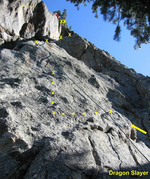 Dragon Slayer.  A crux traverse by the first bolt, steep face moves by the second and third bolts, an interesting stemming ramp by the fourth and fifth bolts, and an overhang at the top make up this great pitch.