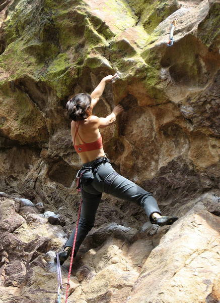 Sarah setting up under the crux roof.