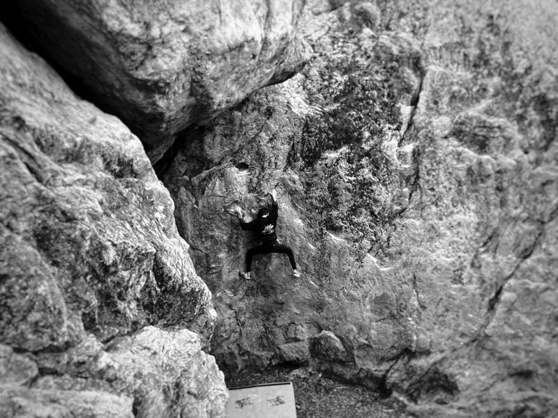 """Wyatt past the hard part on one of his favorites, Watercourse. For this photo I was perched putting all my weight on one foot, Wyatt says """"if you fall I'm not taking the blame"""". Spoiler alert, I didn't fall. Anyway, cool view of Watercouse and The Pit."""