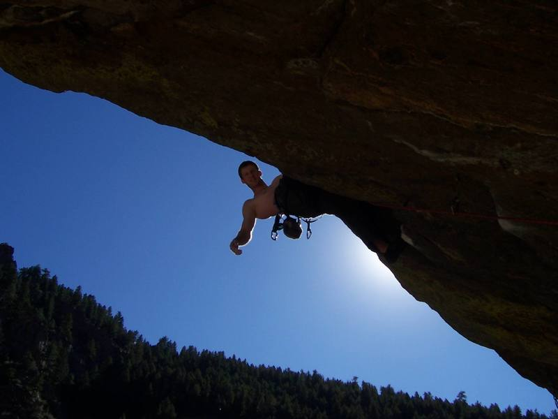 Posing for the camera on a successful onsight attempt of this really fun climb.
