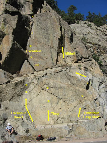 Thor climbs the steep face between Excalibur Direct and the Excalibur Easy Start.