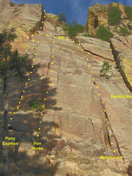 Routes in the Pony Express area.  Pony Express takes the leftmost crack line above two trees and jogs right to a 2-bolt anchor.  The second pitch continues up the dihedral above.
