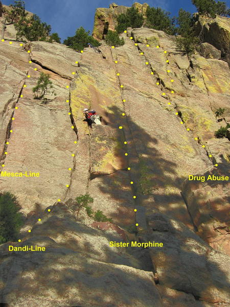 Routes on the right side of the Pony Express area.  Sister Morphine takes the pedestal and thin crack right of Dandi-Line.  The climbing is much better than it looks.