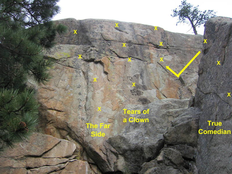 The Far Side.  Climb the leftmost line of bolts on Comedy Wall.