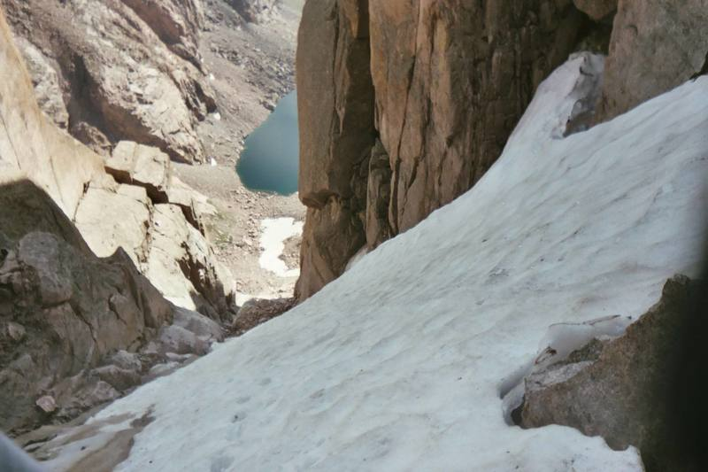 Looking down the couloir at Chasm Lake.