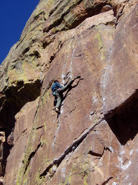 The most spectacular position on this climb? George and his partner Chris both led Evictor that day.