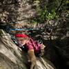 Michael Bihrle at the reachy crux of Golden Days (5.10b)