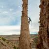 Evan Mann heads up the spire.