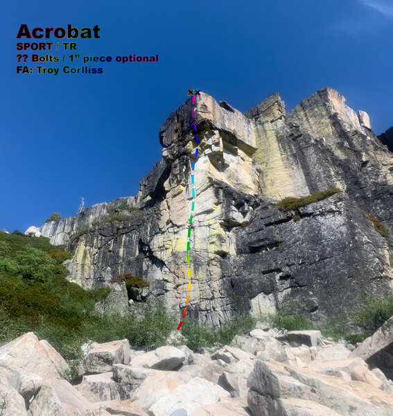 ACROBAT. Route line is approximate. <br> Will update eventually with bolt count and locations.